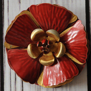old vintage maroon bronze enamel flower pin brooch